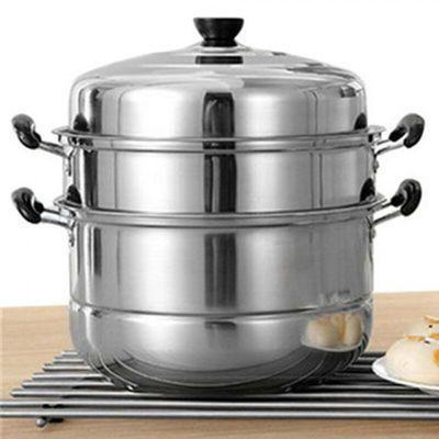 蒸锅不锈钢三层加厚汤锅火锅3层二2层多层蒸笼家用电磁炉26-30cm