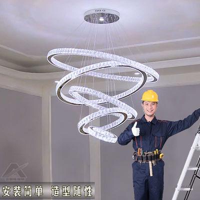 客厅led吊灯餐厅卧室水晶灯家用新款简约大气楼梯灯大厅智能灯具