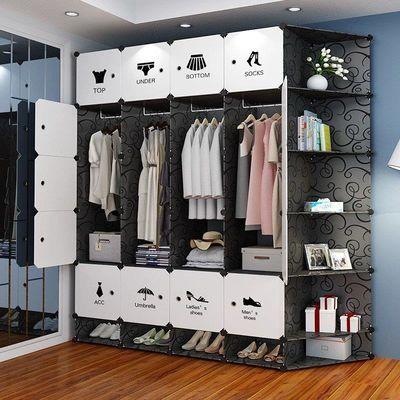 简易衣柜收纳架塑料布推拉门卧室家具挂钢管加粗加固组装简约柜子
