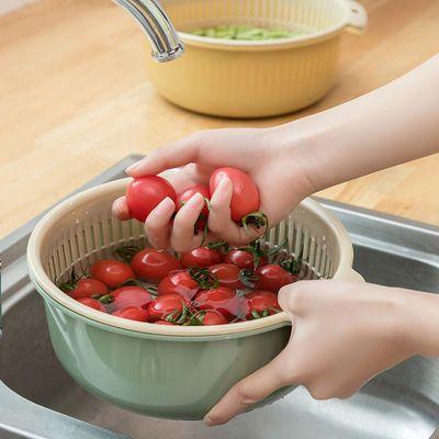 双层沥水篮家用厨房蔬菜篮拼色加厚洗菜盆水果滤水篮居家多用篮子,免费领取1元拼多多优惠券