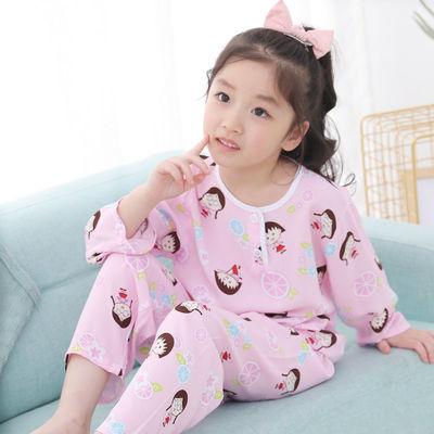 儿童绵绸睡衣夏季薄款1-10岁男孩家居服男女童空调服宝宝棉绸套装