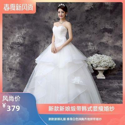 新款韩式新娘婚纱显瘦齐地婚纱礼服绑带修身白色抹胸缎带