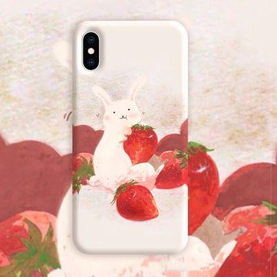 草莓兔子清新vivoy5s手机壳全包女款y3硬壳磨砂保护套防摔创意薄