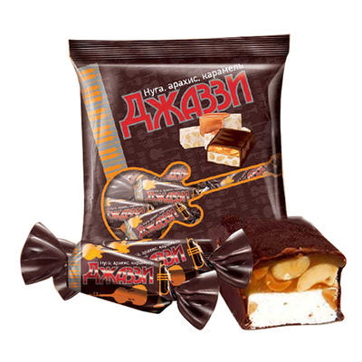 【KDV】俄罗斯进口黑爵士巧克力味双层花生夹心糖袋装散糖喜糖果