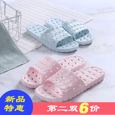 韩版居家软底镂空浴室拖鞋情侣拖鞋男士室内洗澡拖鞋女漏水防滑