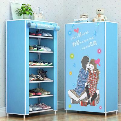 多层简易鞋架子鞋柜防尘带布罩收纳架可自由拆装鞋柜学生宿舍钢管