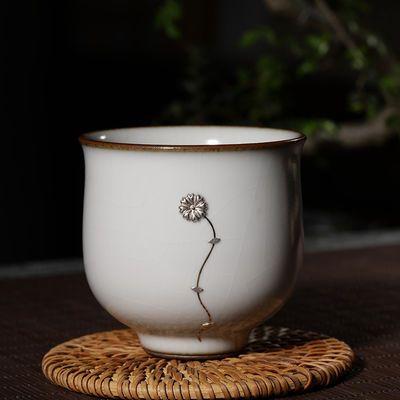 观复博物馆手工纯银锔钉金缮功夫茶杯景德镇陶瓷品茗杯主人杯单杯