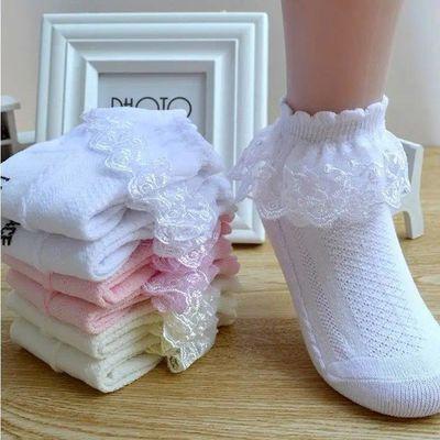 四双装女童双层花边袜儿童袜子蕾丝舞蹈袜白色粉色蓝色纯色网面袜