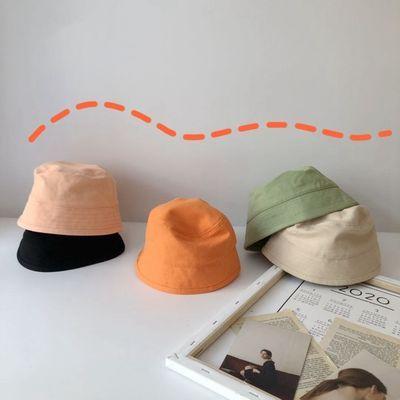 儿童帽子男女童时尚百搭荧光色系盆帽潮范宝宝平顶水桶帽渔夫帽子