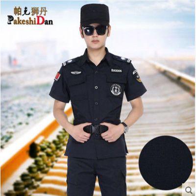 保安制服夏装耐磨长袖网格保安工作服套装男夏天短袖春秋作训服