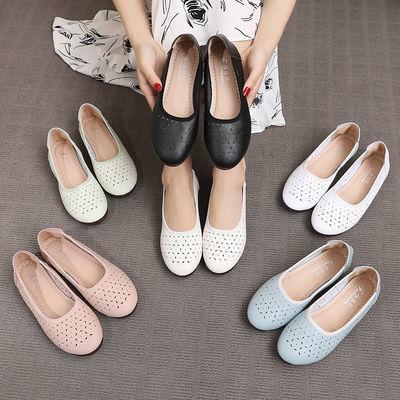 2020新款女凉鞋真皮软底夏季镂空中老年新品妈妈洞洞鞋防滑孕妇鞋