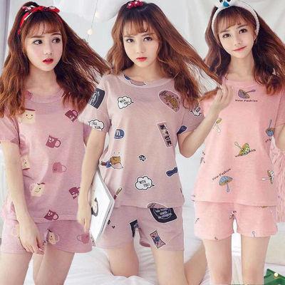 短袖睡衣女夏季学生韩版可爱舒适卡通薄款女士睡衣宽松居家服套装