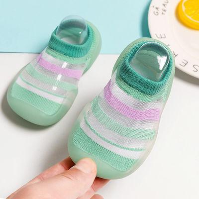 宝宝学步鞋袜夏季婴幼儿学走路软底冰丝凉鞋网眼透气男女儿童鞋子