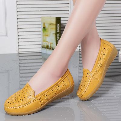 【真皮洞洞鞋】牛筋底镂空女鞋防滑孕妇鞋休闲妈妈鞋豆豆鞋护士鞋