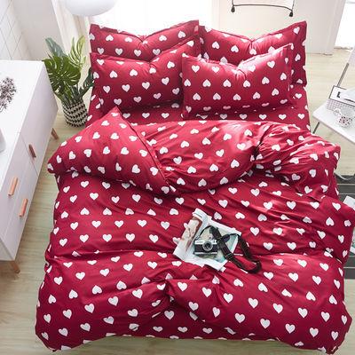 【不褪色】床上用品被套简约红色秋冬季宿舍单人床单四季被罩