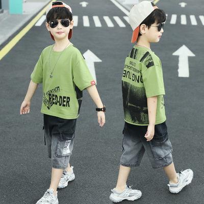童装男童短袖套装夏装2020新夏款中大小儿童T恤两件套洋气韩版潮