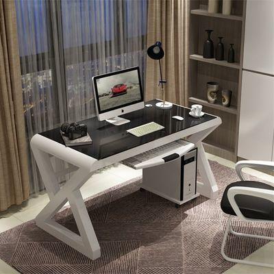 电脑桌简约现代钢化玻璃台式家用办公桌简易经济型学习书桌写字台