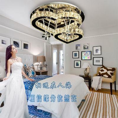 led吸顶灯主卧室灯温馨浪漫婚房圆形水晶灯个性心形简约现代灯具