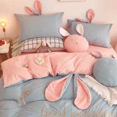 网红款公主款床裙四件套全棉纯棉被套床单少女心可爱床上用品韩版