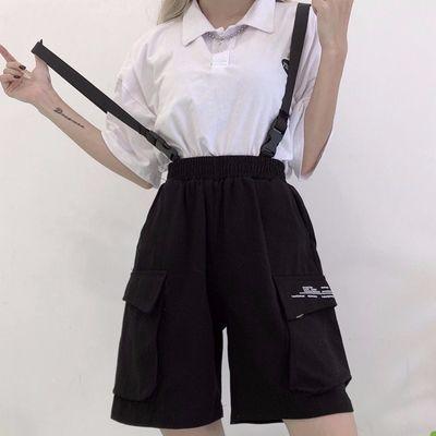 裤子女宽松夏嘻哈韩版ins直筒bf风学生运动五分裤背带工装短裤女