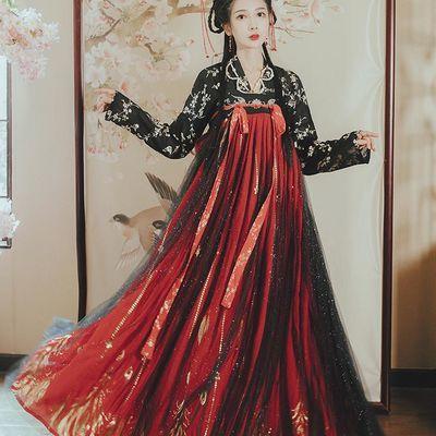 【花神记―翎星】原创汉服女两片式唐制齐胸襦裙女汉服红色非古装