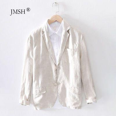 夏季透气商务亚麻西装男士休闲薄款青年正装大码西服宽松棉麻外套