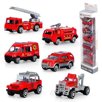 回力男孩玩具车合金车模型宝宝迷你仿真滑行儿童工程车消防车套装