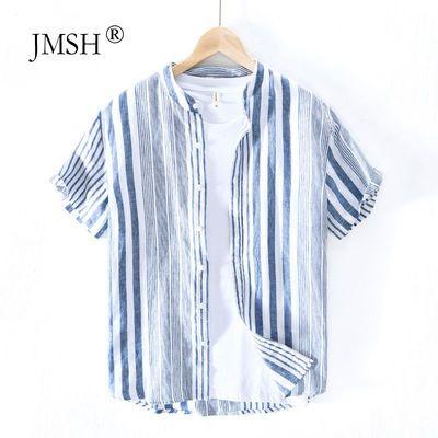 极麻清新条纹立领撞色短袖亚麻衬衫男士夏季休闲青年宽松棉麻衬衣