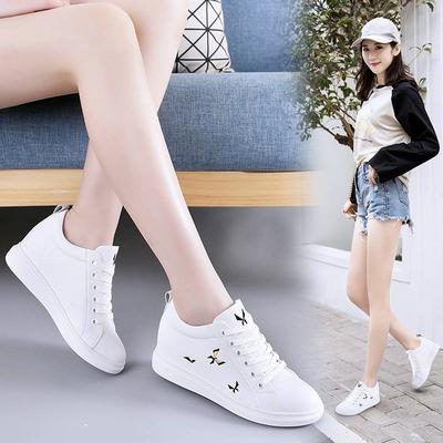 真皮内增高小白鞋女显瘦2020春季新款潮透气百搭韩版厚底休闲鞋女