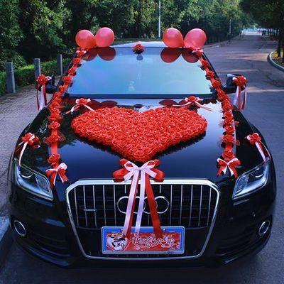婚车车头装饰结婚婚庆用品套装头车副车玫瑰装饰花韩式小熊婚花车