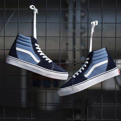 OFFWHITE联名蓝色经典男鞋女鞋高帮帆布鞋情侣板鞋港风万斯板鞋