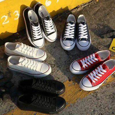 春季新款ins帆布鞋女学生韩版平底单鞋情侣百搭黑色低帮休闲板鞋