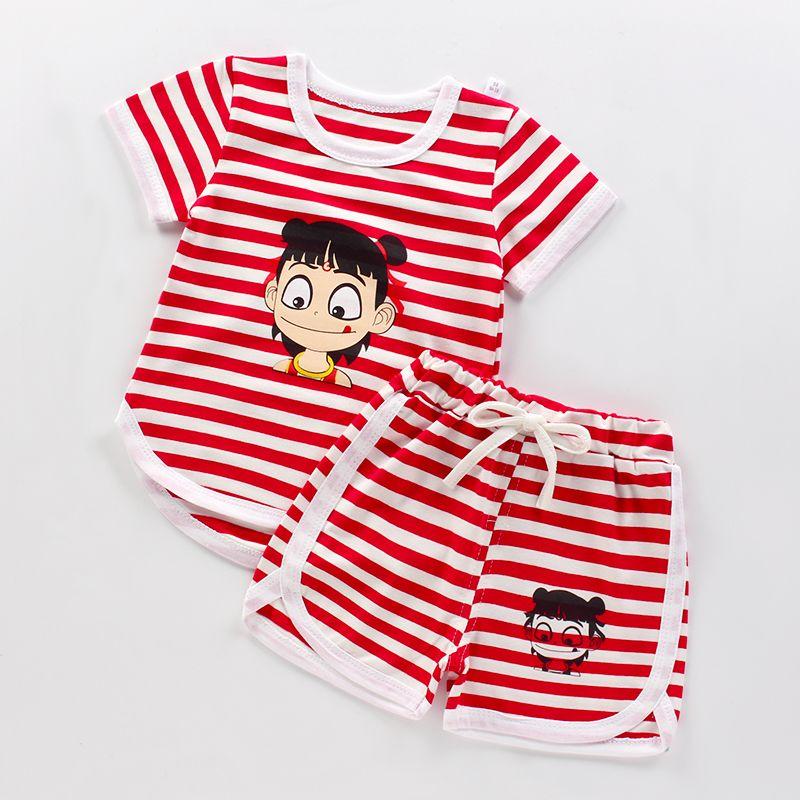 儿童短袖套装0-8岁男童韩版运动套装女宝宝休闲短裤婴儿衣服夏装