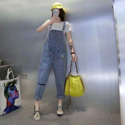 欧洲站牛仔背带裤女九分裤2020春装新款时尚显瘦宽松吊带连体裤潮