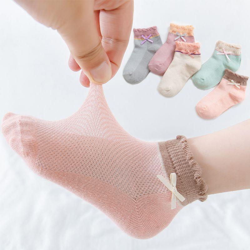 夏季网眼儿童袜子纯棉男女童大小童中筒花边宝宝婴儿袜子
