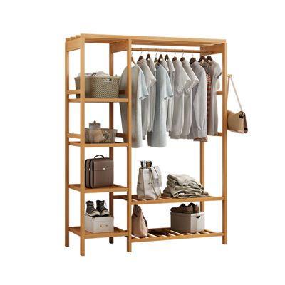 简易衣柜收纳架衣架落地收纳柜衣帽架衣架衣橱组合衣柜实木储物柜