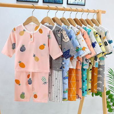 儿童睡衣套装夏季男童女童棉绸婴儿宝宝小孩男孩女孩夏天中大童装