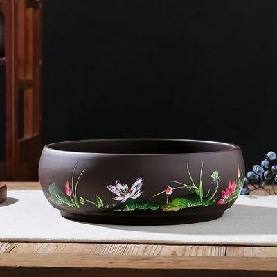 新款花盆陶瓷 碗莲多肉花盆 水培盆景 大号圆形 新中式古典紫砂花