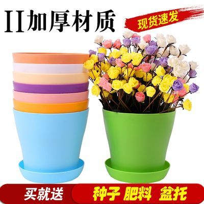 新款加厚花盆送托盘+花种+肥生根粉绿植花卉绿萝多肉植物塑料花盆