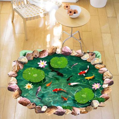 室卫生间可移除瓷砖防水贴鱼塘地板贴仿真立体3D效果荷塘墙贴画浴