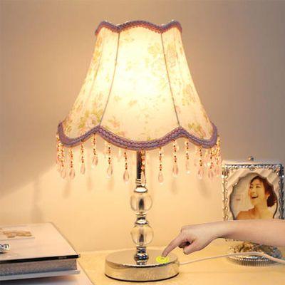 护眼台灯LED书房客厅卧室床头创意装饰遥触控浪漫欧式水晶小台灯