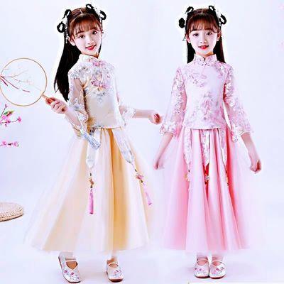女童汉服超仙连衣裙10岁女孩公主裙唐装新款礼服旗袍儿童古装女夏