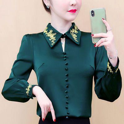 2020春装新款时尚气质仿真丝衬衫女装长袖打底衫上衣洋气小衫春季的宝贝主图