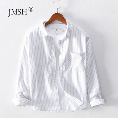 极麻日系条纹休闲长袖衬衫男士大码秋季复古青年宽松纯棉衬衣外套