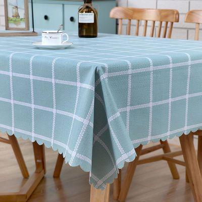 桌布布艺防水防烫防油免洗PVC仿棉麻少女心ins格子茶几桌垫