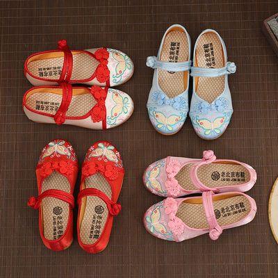 新款老北京儿童绣花鞋女布鞋民族风舞蹈鞋公主鞋汉服古装表演出鞋