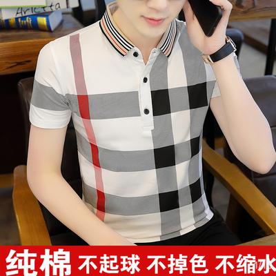 95棉短袖t恤男潮流夏季男装潮牌衬衫领男士polo衫韩版半袖上衣服