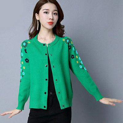 2020春秋新款韩版针织衫开衫短款宽松毛衣女外搭披肩提花百搭外套