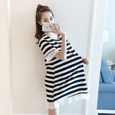 2020新款孕妇T恤夏季中长款宽松条纹短袖连衣裙怀孕显瘦a字裙大码