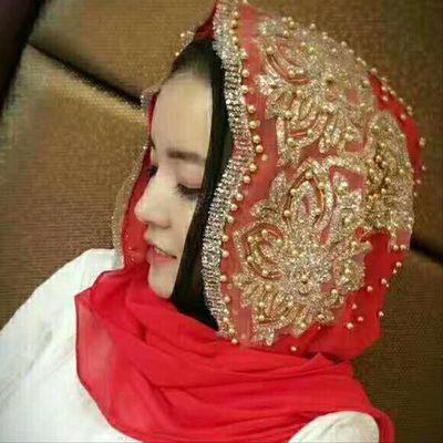 新款穆斯林帽围巾服饰清真寺迪拜回族头巾女 旅游 防晒钉珠包邮